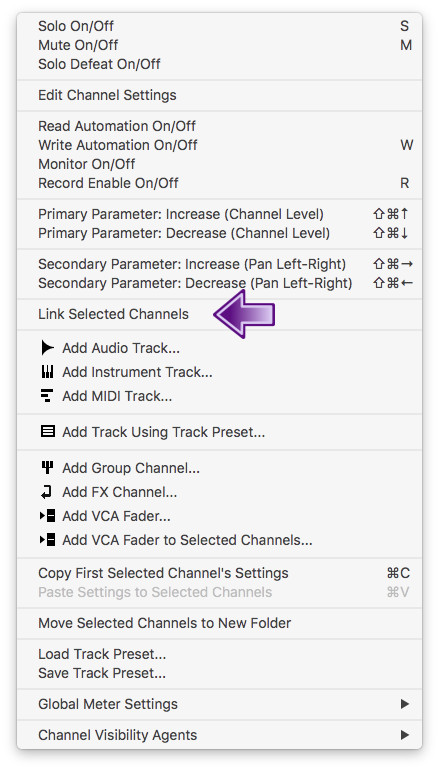 Acessando a função Link Selected Channels no Cubase