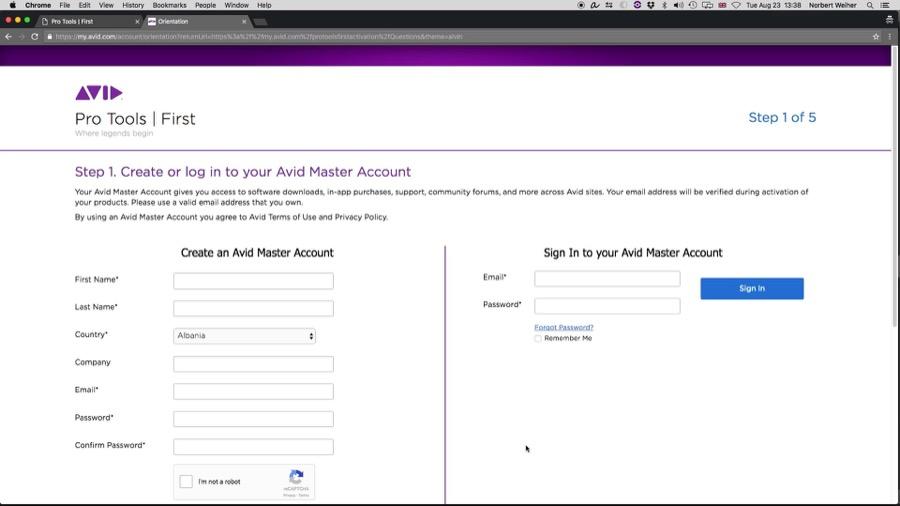 Site da Avid para criar sua conta. Necessário para baixar o Pro Tools gratuito.