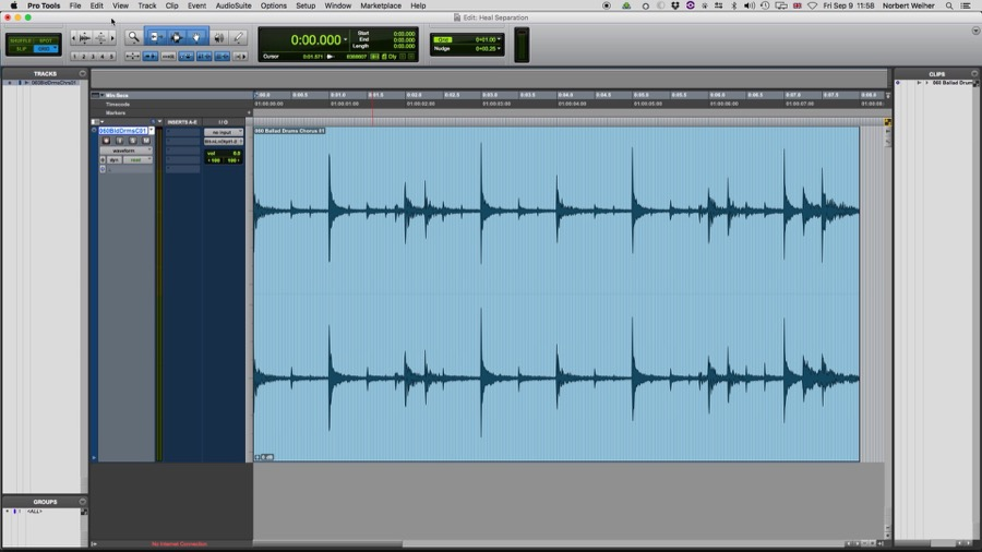 Como utilizar o comando Heal Separation do Pro Tools